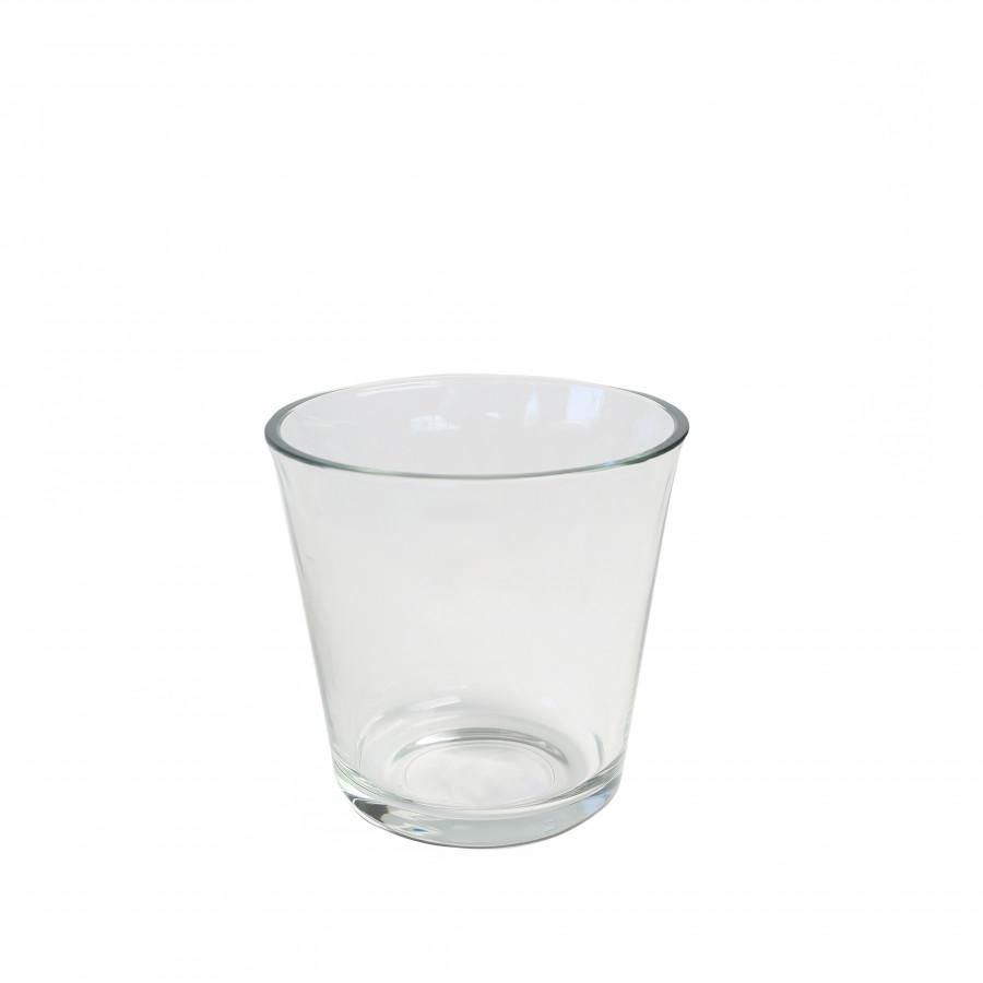 Vaso vetro spesso bordo svasato d13 h12.5 cm