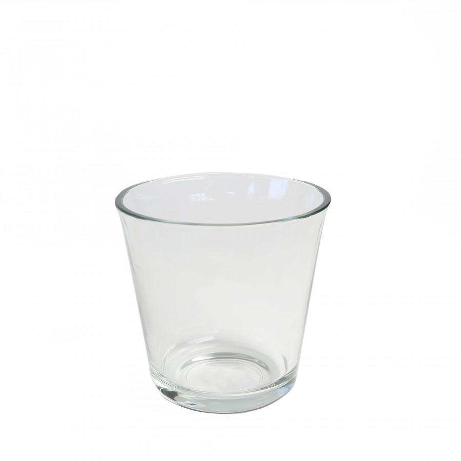 Vaso vetro spesso bordo svasato d14 h14 cm