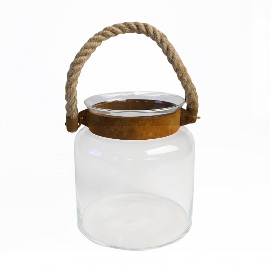 Vaso pensile liscio fascia ruggine con corda d19 h19 cm