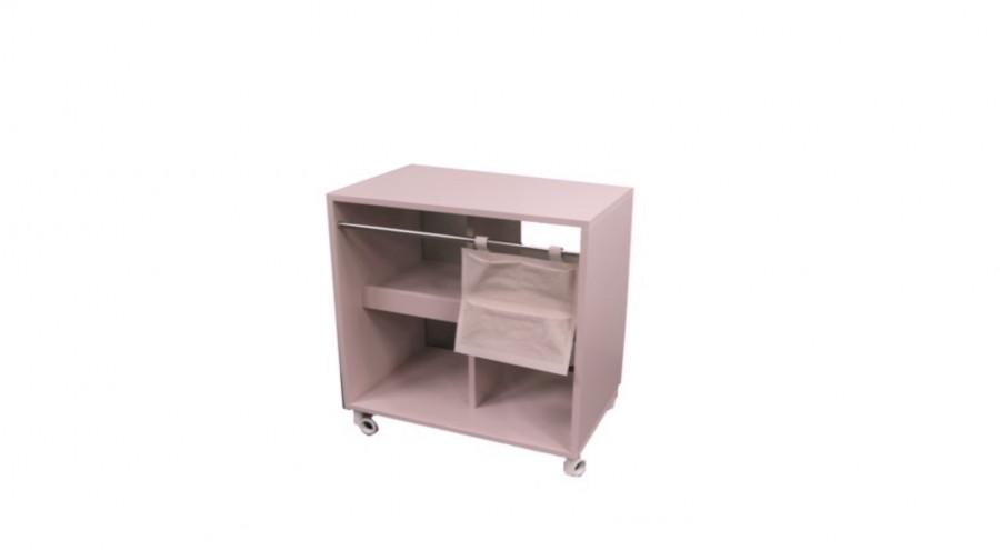 Fasciatoio vintage legno rosa con cuscino e ruote 80 x 50 h90 cm
