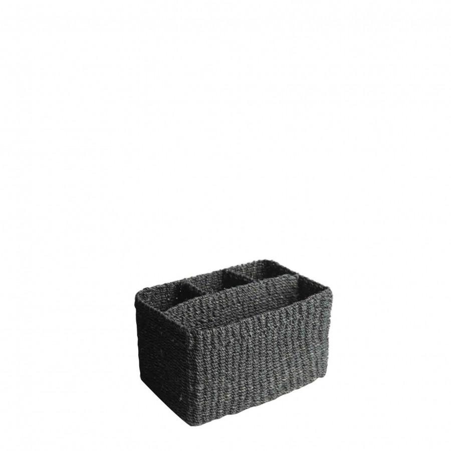 Abaca basket with 3+1 compartments black colour 21 x 14 h12 cm