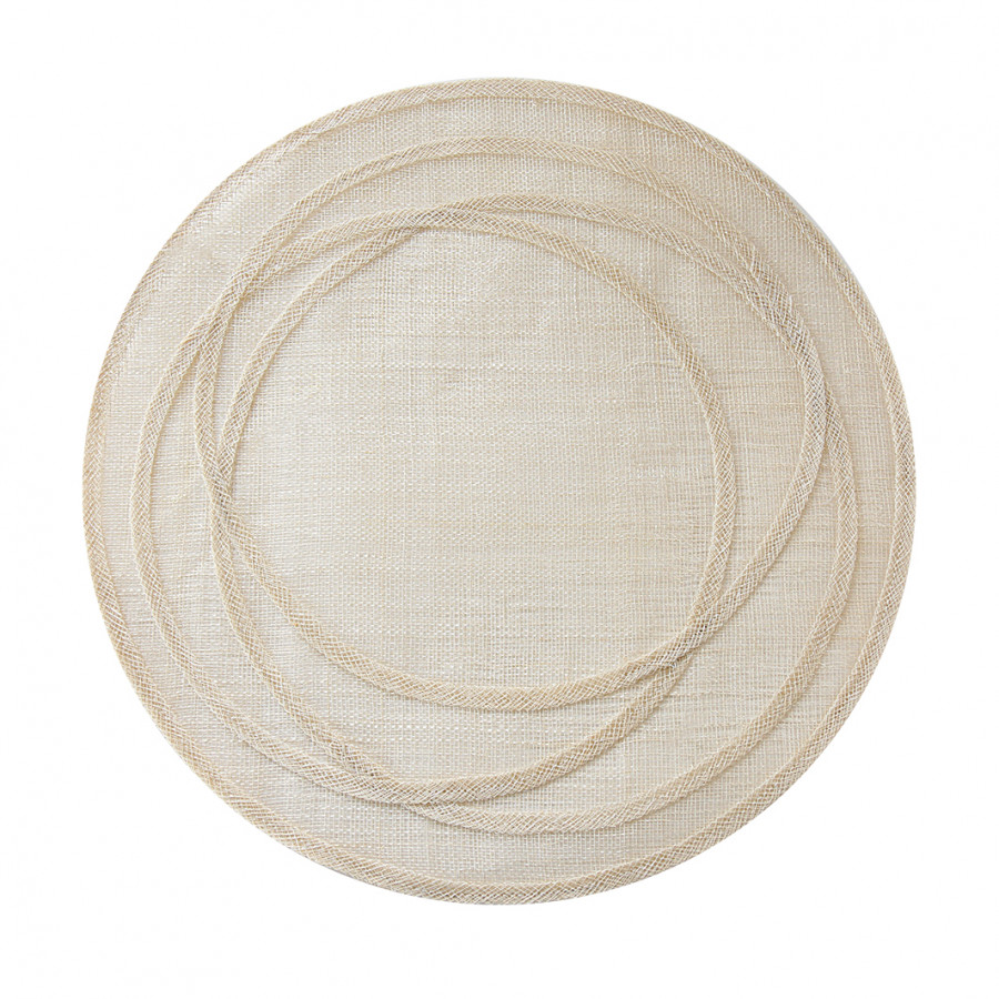 Abaca white underplate with irregular hoops