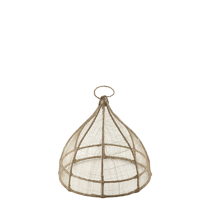 Small linen round food cover in abaca net d20 h18 cm