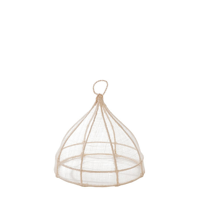 Small white round food cover in abaca net d20 h18 cm
