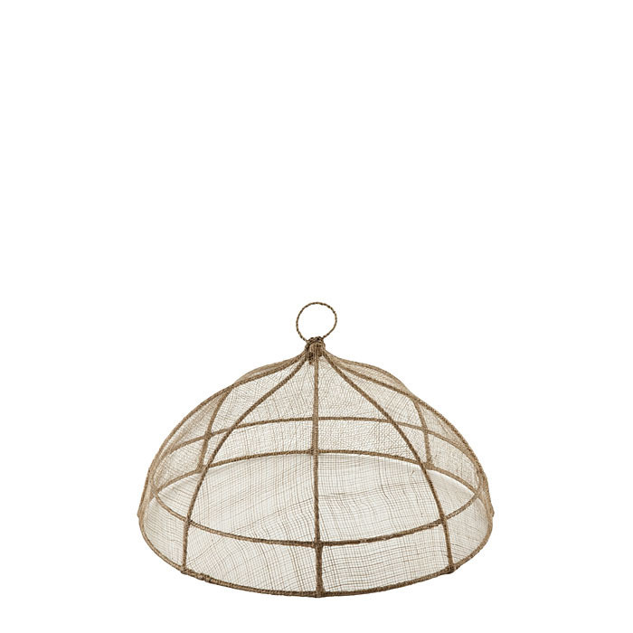 Linen round food cover in abaca net d35 h18 cm