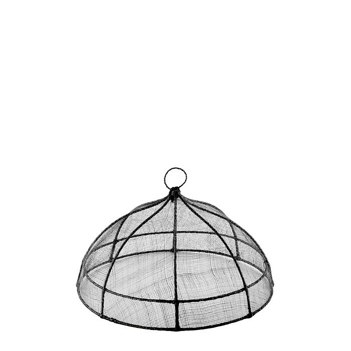 Black round food cover in abaca net d35 h18 cm