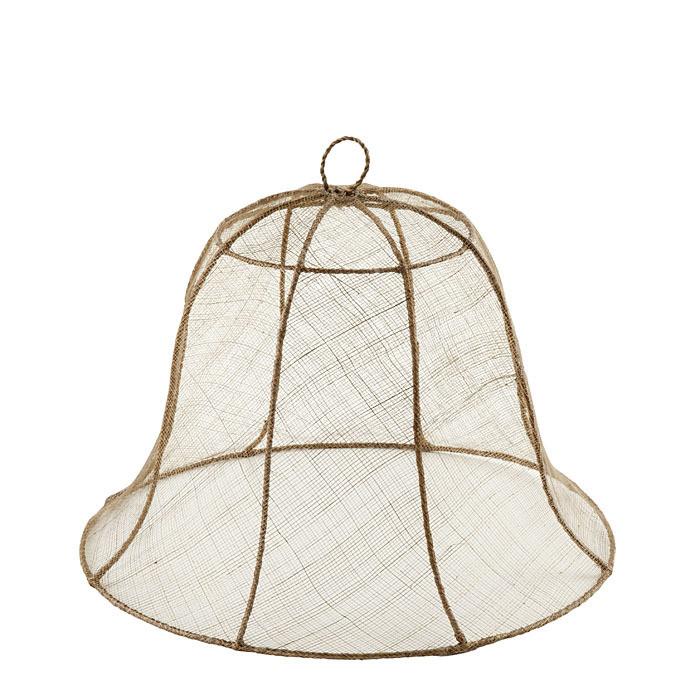 Linen bell food cover in abaca net d40 h30 cm