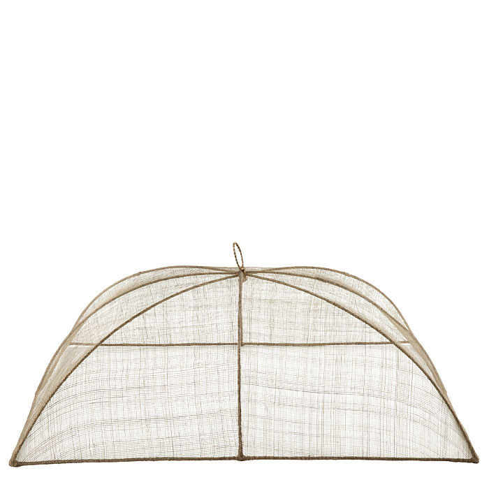 Maxi linen food cover in abaca net 48 x 66 h25 cm