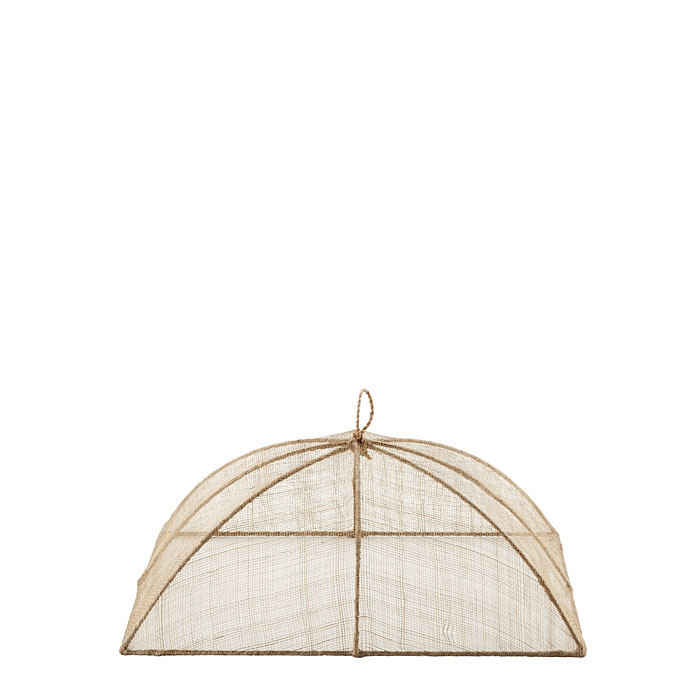Small linen food cover in abaca net 25 x 40 h14 cm