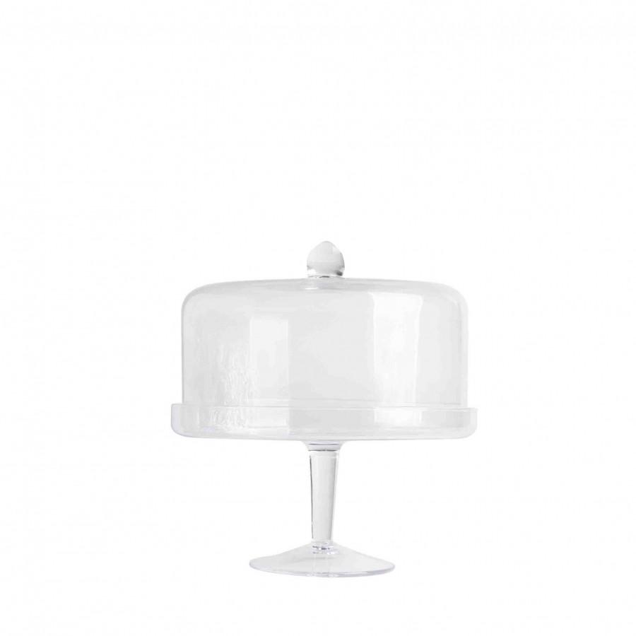 Alzata con bordo e campana vetro w d22 h25 cm