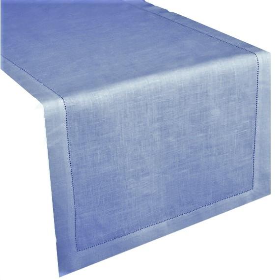 Runner lino/cotone orlo a giorno bluebell 50x160cm
