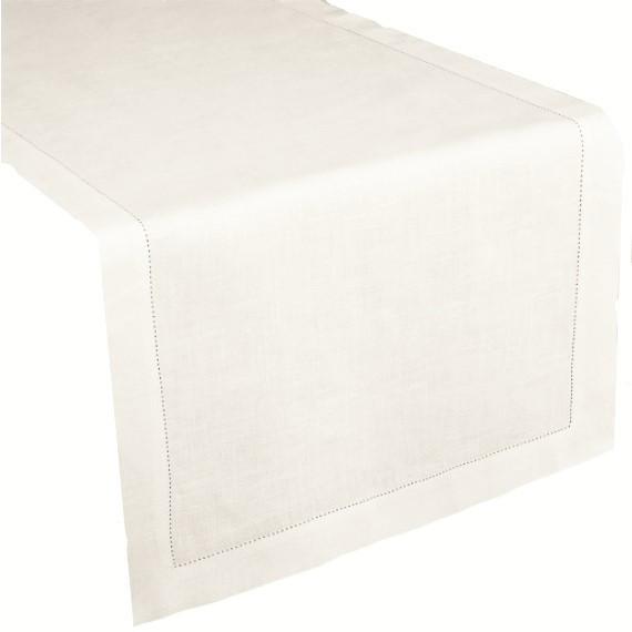 Runner lino/cotone orlo a giorno ivory 50x160cm