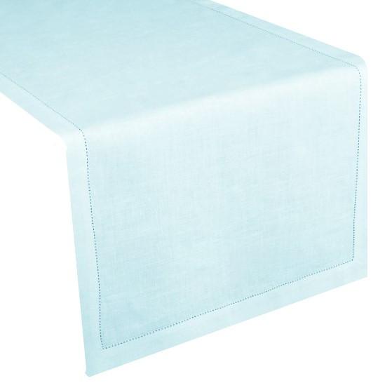 Runner lino/cotone orlo a giorno pale blu 50x160cm