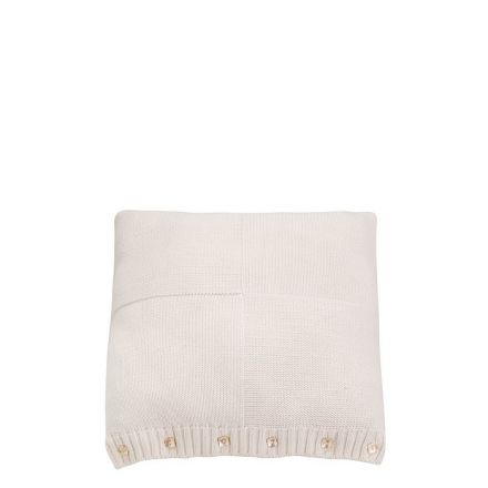 Fodera cuscino quadrato in cotone bianco e bottoni 35 x 42 cm
