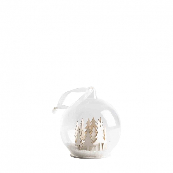 Glass led ball with snowy woods inside and batteries d48 cm