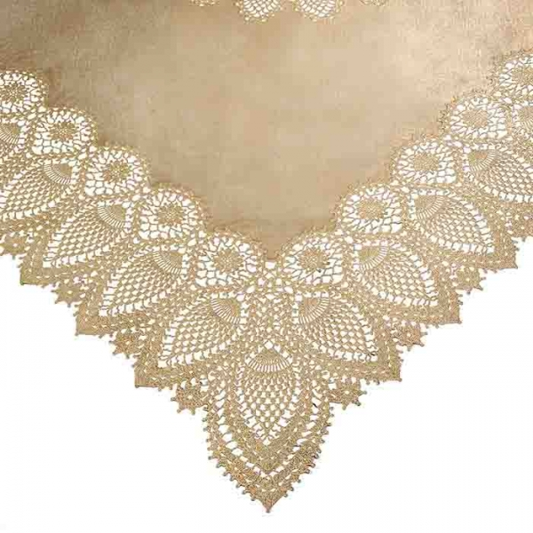 Gold vinyl lace waterproof tablecloth 137 x 137 cm