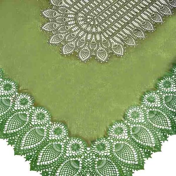 Tovaglia impermeabile vinile green pizzo 150 x 264 cm