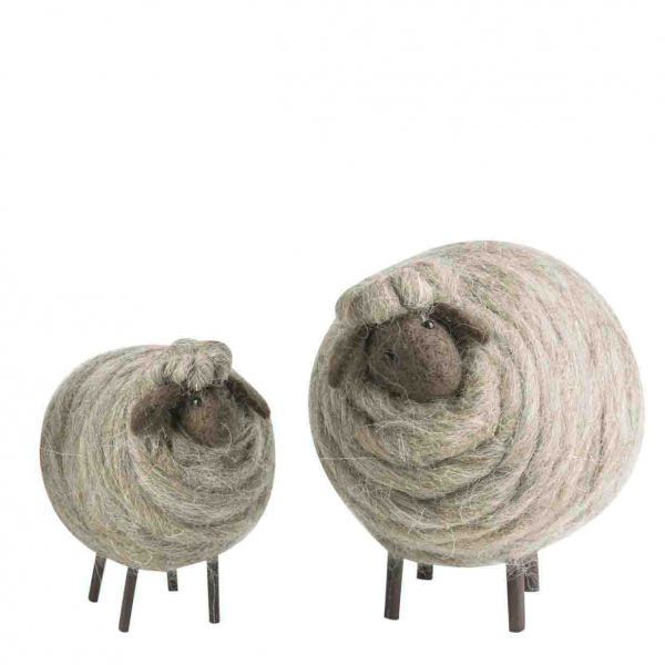 Coppia di pecore lana h12/17cm zampe legno in box h17 cm