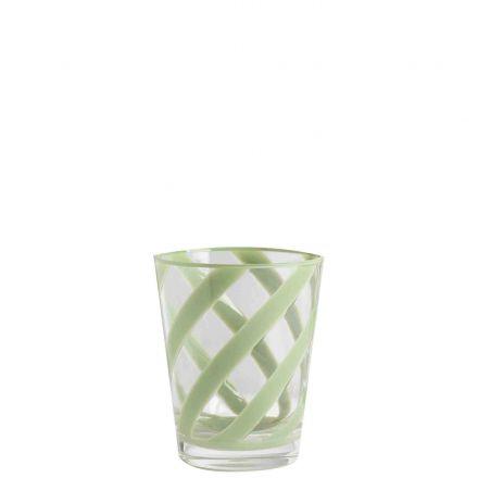 Bicchiere metacrilato trasparente spirale verde d9 h11 cm