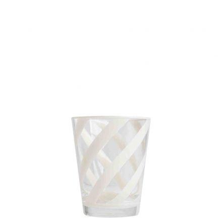 Bicchiere metacrilato trasp. spirale crema piena d9 h11 cm